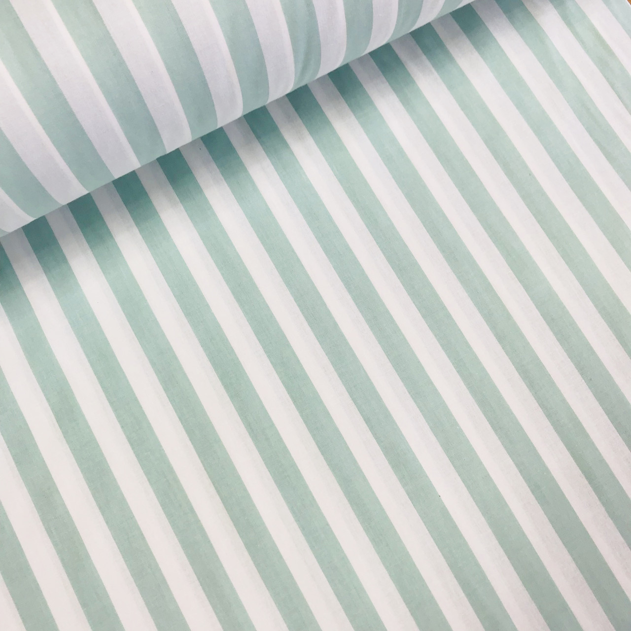 Хлопковая ткань (ТУРЦИЯ шир. 2,4 м) полоска мята 14 мм