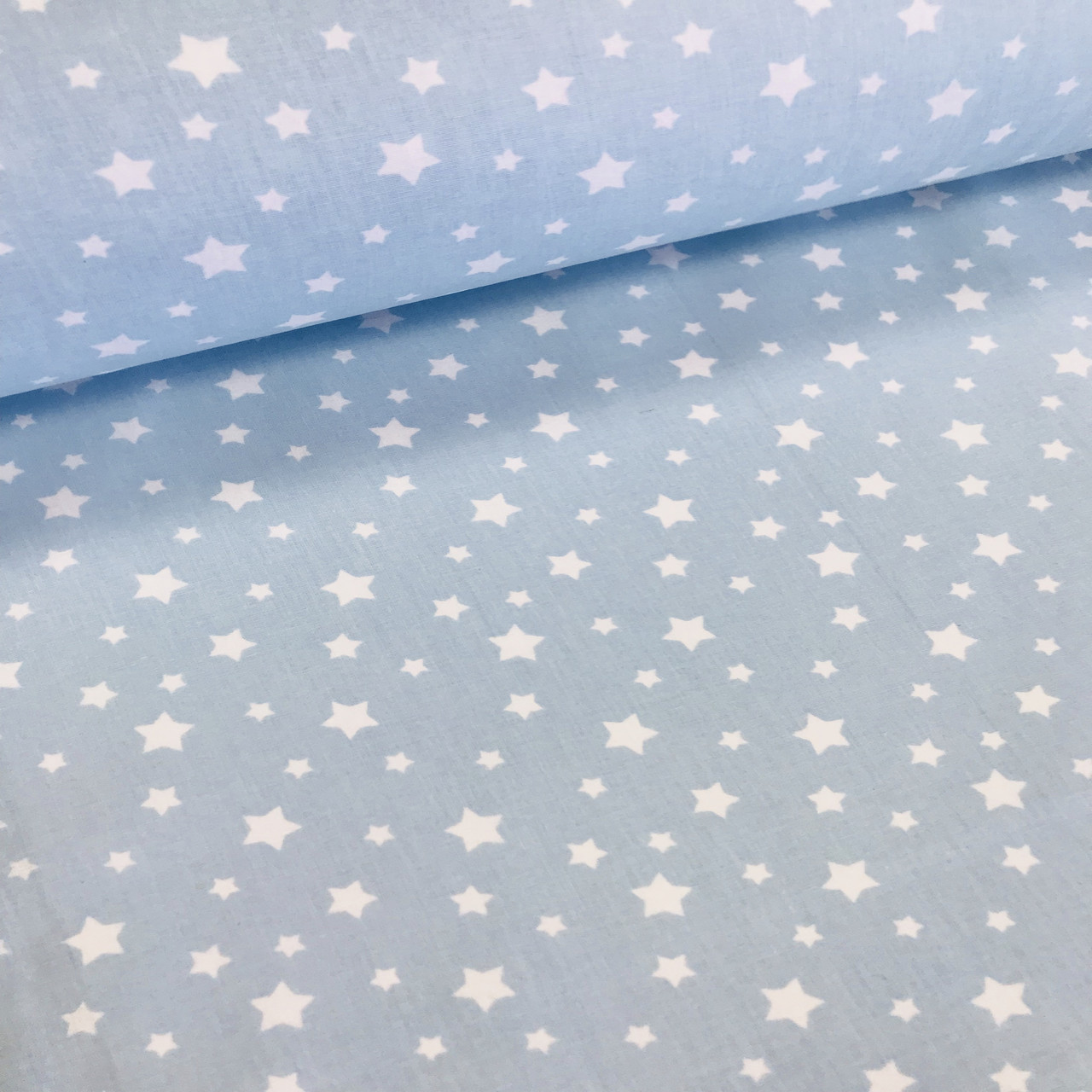 Хлопковая ткань (ТУРЦИЯ шир. 2,4 м) звездопад мелкий белый на голубом
