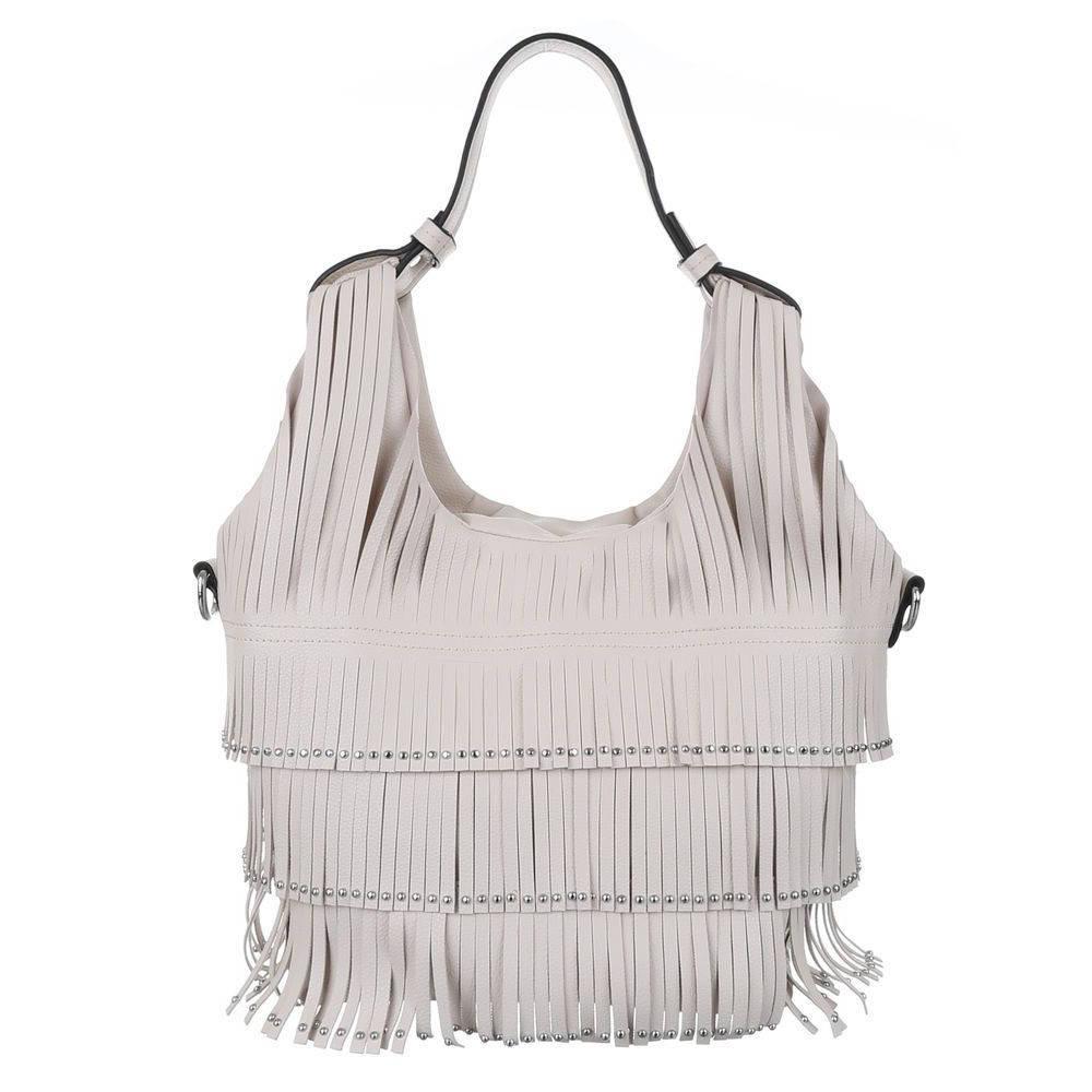 Женская сумка хобо с бахромой (Европа) Бежевый