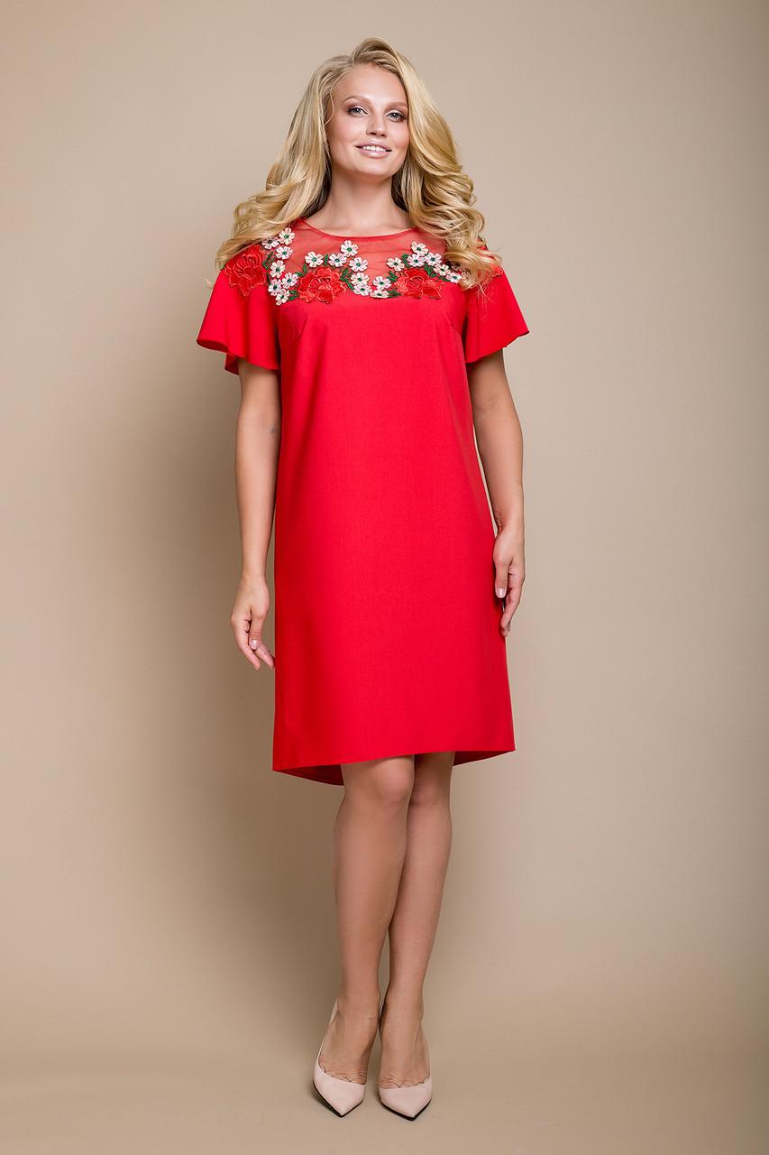 Ошатне літнє плаття з набивним мереживом з 50 по 58 розміри