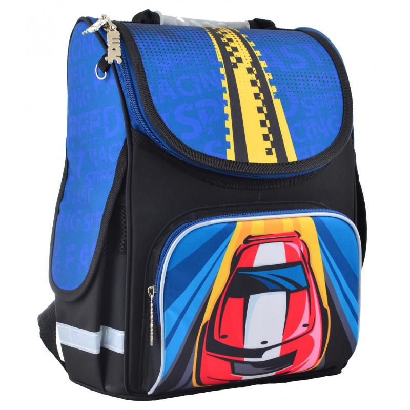 0cae7c98d605 Ранец (рюкзак) - каркасный школьный для мальчика - Машина черно-синий, PG-11  Car, Smart 55454