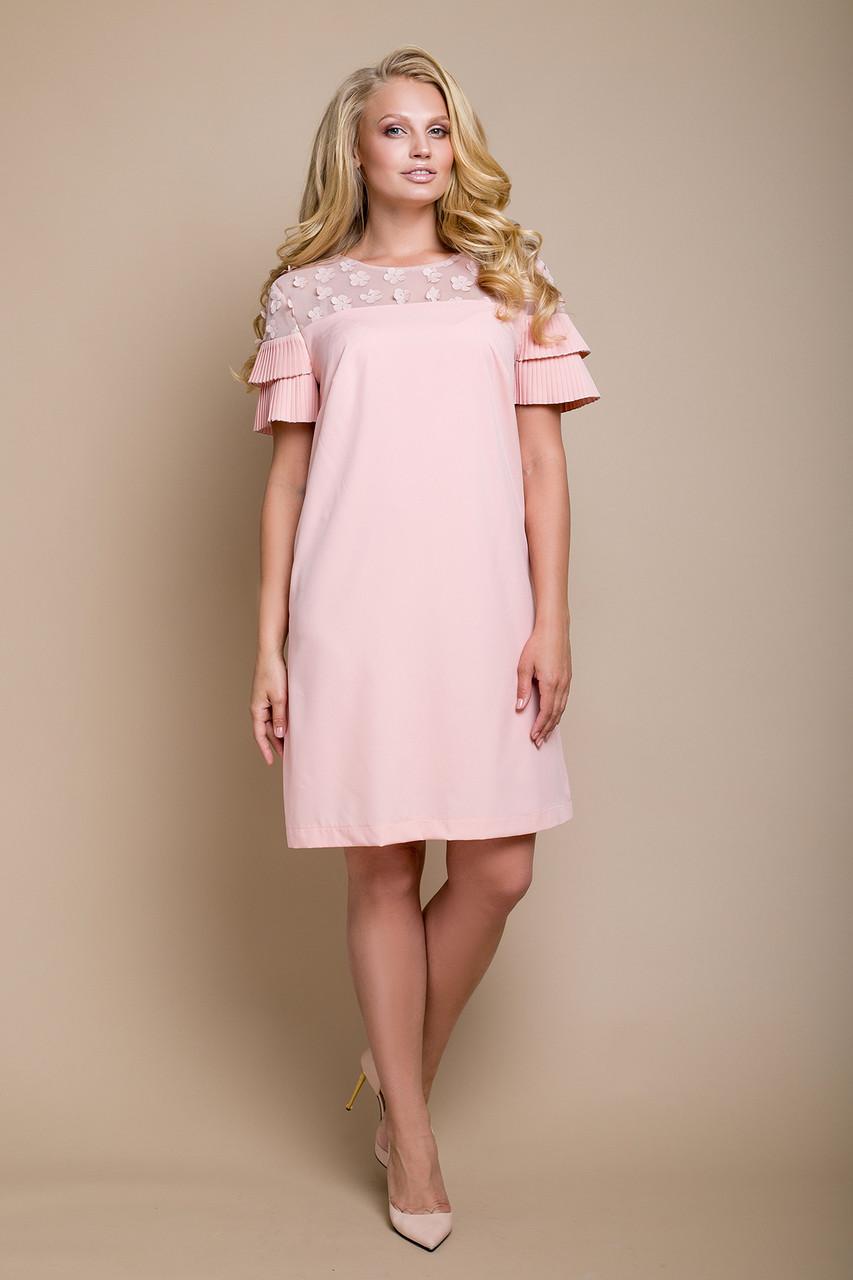 Нарядное летнее платье с набивным кружевом с 50 по 58 размеры