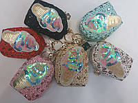 """Брелок-кошелек на сумку с пайетками """"Мороженное"""""""