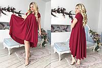 """Асимметричное расклешенное платье """"SOFER"""" с коротким рукавом (большие размеры)"""