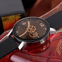 Наручные часы черные с оригинальным циферблатом