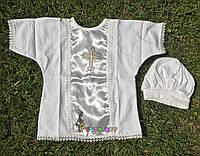 """Набор для крещения """"Словяночка"""" (рубашка на завязочках+чепчик) интерлок молочный, фото 1"""