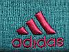 Шапка Adidas голубая с розовым логотипом и помпоном (реплика), фото 3