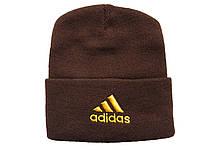 Шапка Adidas темно-коричневая с желтым логотипом