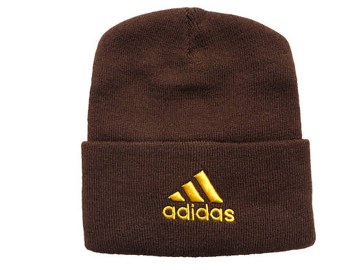 Шапка Adidas темно-коричневая с желтым логотипом (реплика)