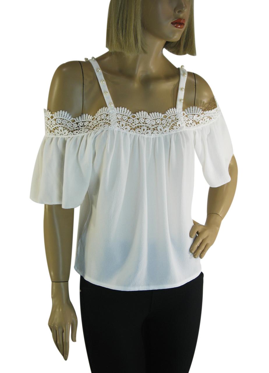 Блузка шифонова з відкритими плечами і мереживом Fi-ha-ha