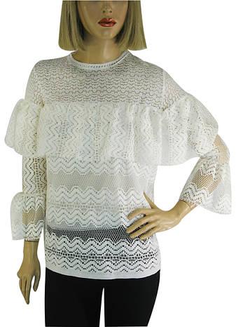 Блузка  біла  з мереживом  Leviores, фото 2
