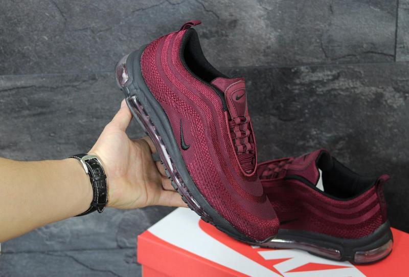 2ee9af7f Мужские кроссовки в стиле Nike Air Max 97, бордового цвета / кроссовки Найк  Аир Макс