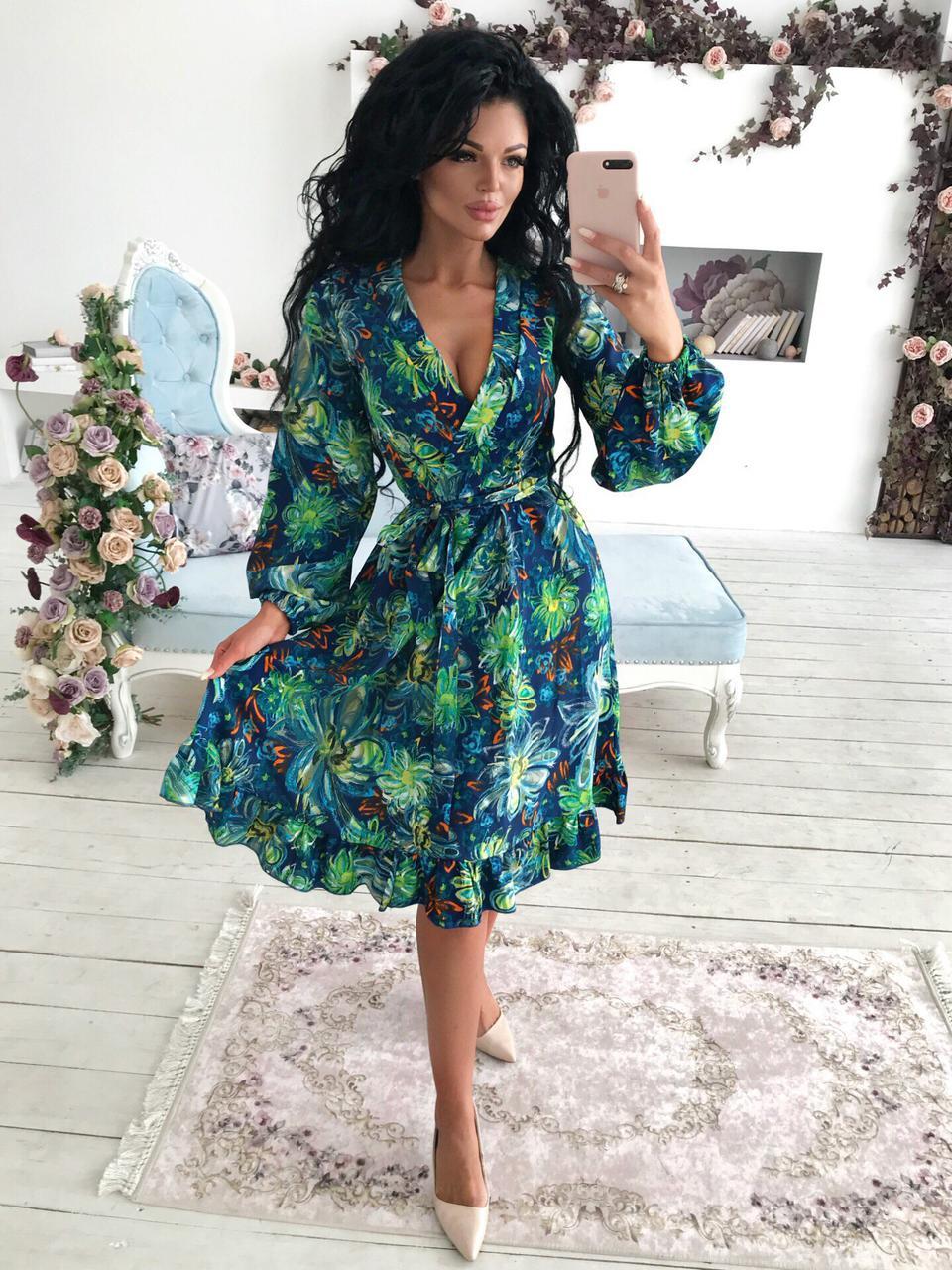 """Приталенное платье-миди """"Veleda"""" с декольте и длинным рукавом"""