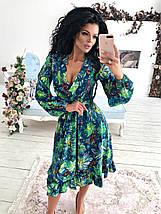 """Приталенное платье-миди """"Veleda"""" с декольте и длинным рукавом, фото 2"""