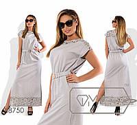 Платье женское в пол с гипюром (2 цвета) -Серый PY/-102