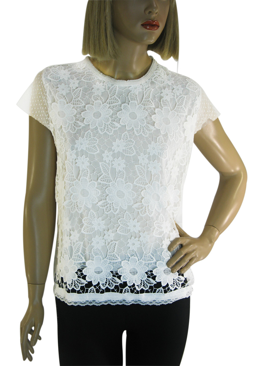 Біла блузка з мереживом і замочком взаді  Leviores