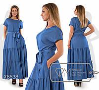 Платье женское в пол батал (2 цвета) - джинс PY/-117