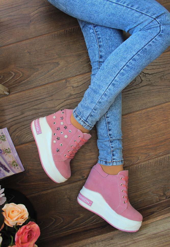 """Сникерсы """"Pink stars""""(розовые,высокие,паетки)"""