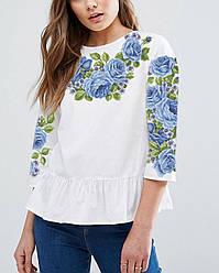 Заготовка вишиванки жіночої сорочки та блузи для вишивки бісером Бисерок «Голубий квітковий розмай» (Б-47-Г )