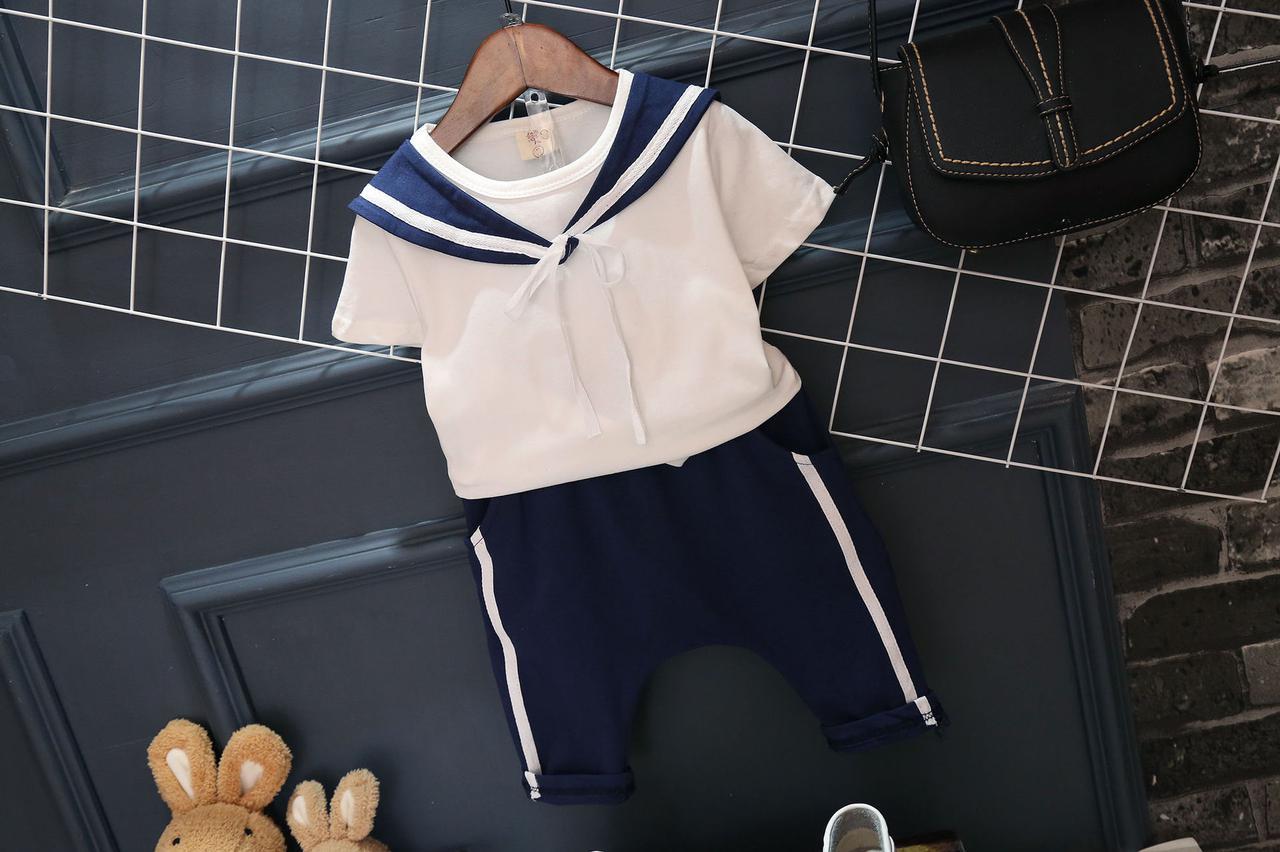 Костюм летний для мальчика в моряцком стиле белая футболка и синие шорты