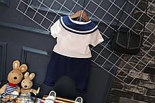 Костюм летний для мальчика в моряцком стиле белая футболка и синие шорты, фото 2