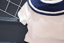 Костюм летний для мальчика в моряцком стиле белая футболка и синие шорты, фото 3