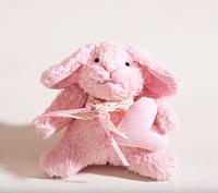 Мягкая игрушка авторской ручной работы Кролик Банни розовый с сердцем
