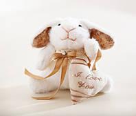 Мягкая игрушка авторской ручной работы кролик банни белый с сердцем, фото 1
