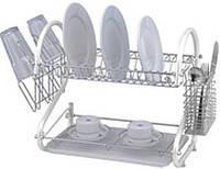 Сушка для посуды настольная 2-х ярусная хромированная