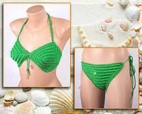 """Купальник, зеленый купальник вязаный крючком,  купальник - """"Love"""", фото 1"""