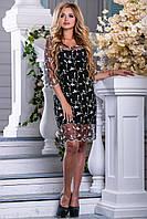 Нарядное платье мини полуоблегающее рукав три четверти прозрачный черное с бежевой вышивкой
