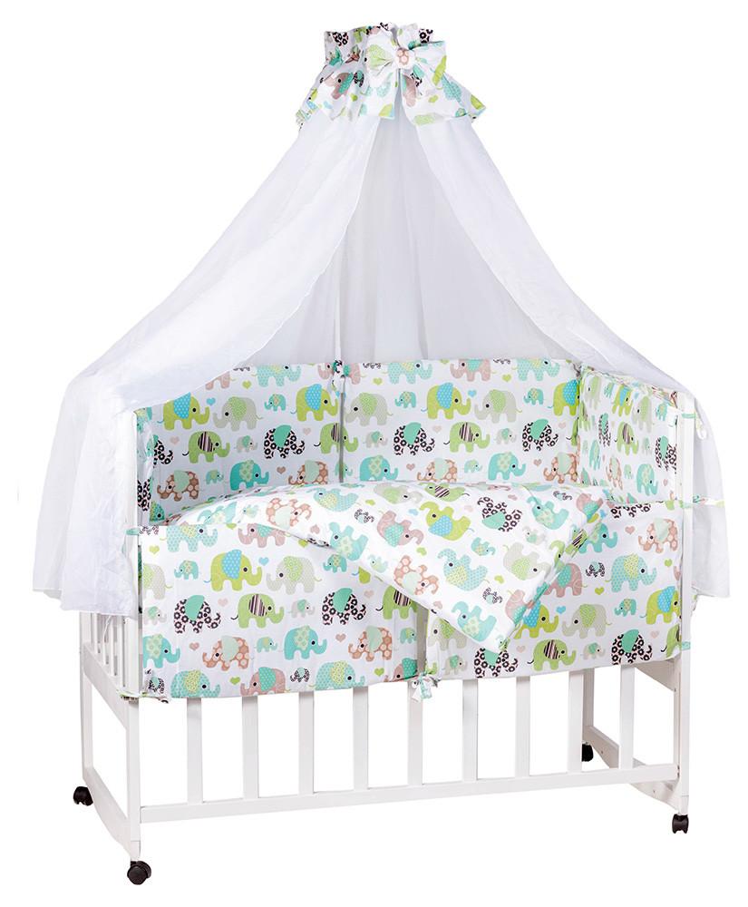 Детская постель Babyroom Comfort-08  белый (салатовые слоники)