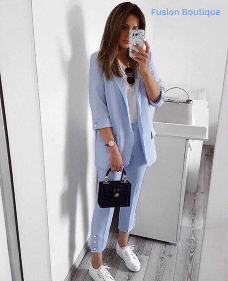 6bdfc1b56ae Женский стильный костюм-двойка брюки и пиджак с жемчугом - Интернет-магазин