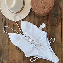Злитий білий купальник на шнурівці 42-46 р, фото 2