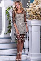 Красивое платье короткое прозрачное с подкладкой рукав до локтя бежево черное с кофейной вышивкой, фото 2