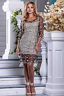 Красивое платье короткое прозрачное с подкладкой рукав до локтя бежево черное с кофейной вышивкой