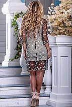 Красивое платье короткое прозрачное с подкладкой рукав до локтя бежево черное с кофейной вышивкой, фото 3