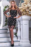 Нарядное платье выше колен сетка с вышивкой рукав три четверти полуприталенное черное