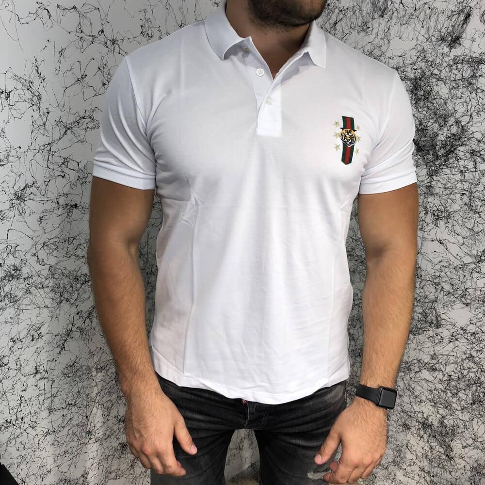 455c70493c48 Футболка Gucci Cotton Polo with Web Crest Tiger White (реплика) - Интернет  - магазин