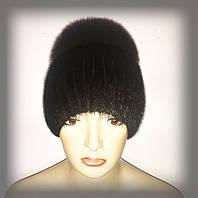"""Женская меховая шапка из ондатры с песцом """"Лия"""" (коричневая), фото 1"""