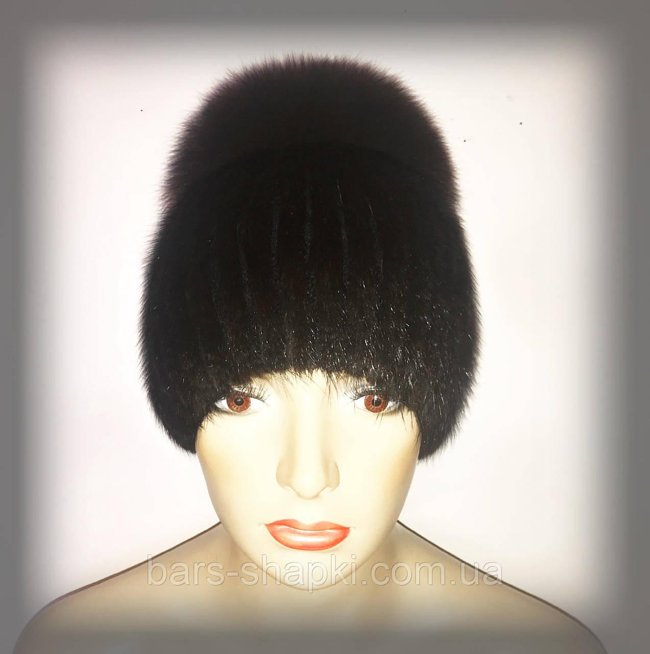 """Женская меховая шапка из ондатры с песцом """"Лия"""" (коричневая)"""