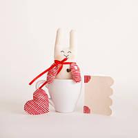 Мягкая игрушка авторской ручной работы кролик банни белый с сердцем и открыткой