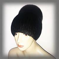 """Женская меховая шапка из ондатры с песцом """"Лия"""" (черная), фото 1"""