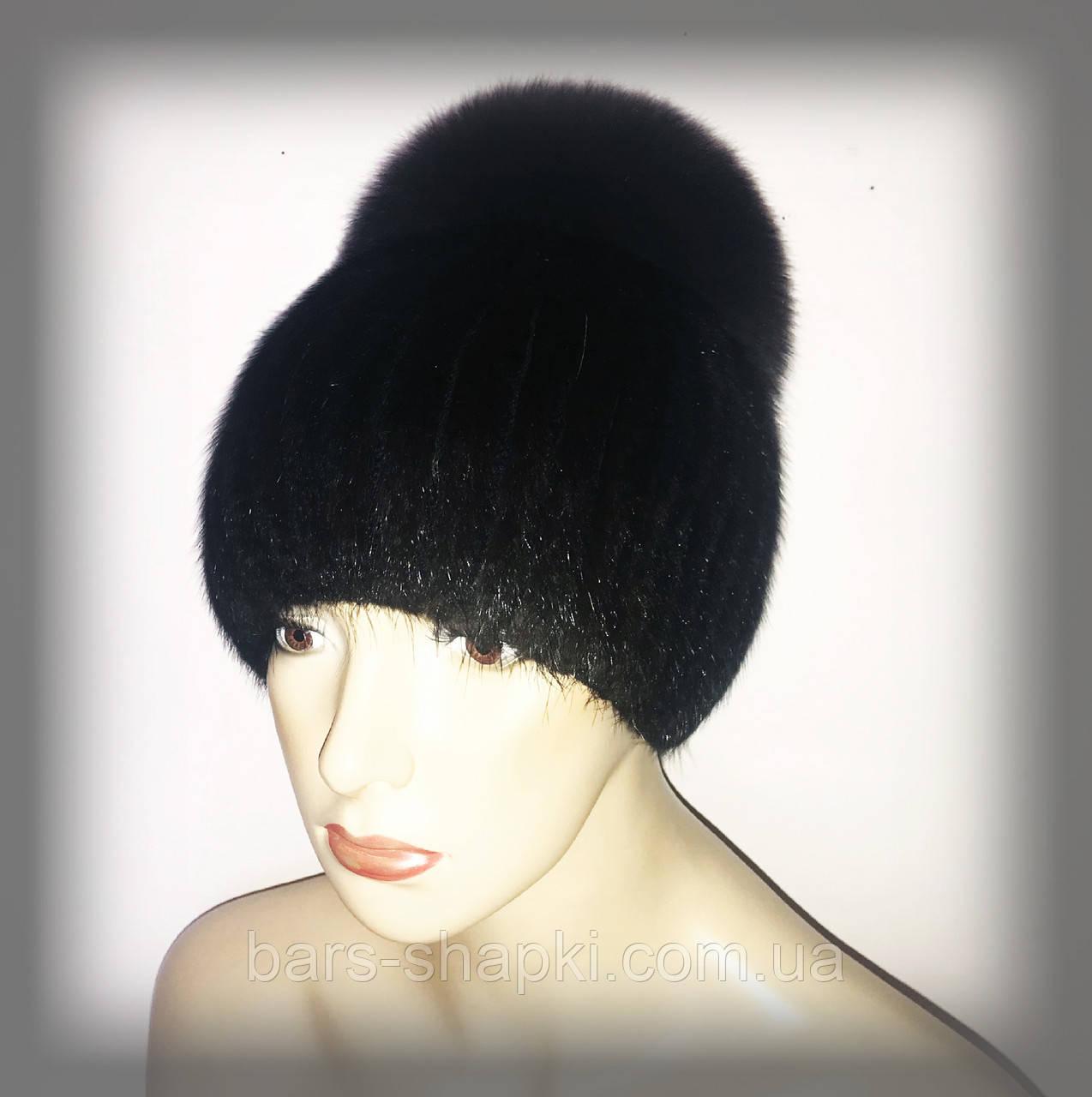"""Женская меховая шапка из ондатры с песцом """"Лия"""" (черная)"""