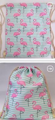 Женский пляжный рюкзак-сумка Розовый Фламинго из ткани в морском стиле 34*42 см