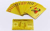 Карты игральные пластиковые на 54 листа Gold 100 dollar, фото 1
