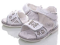 Детские белые босоножки для девочек на липучках Размеры 20-25