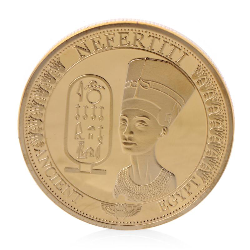 Памятная монета в кошелек Египетская царица Нефертити. золотой