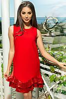 Красное платье с воланом из пайеток, фото 1