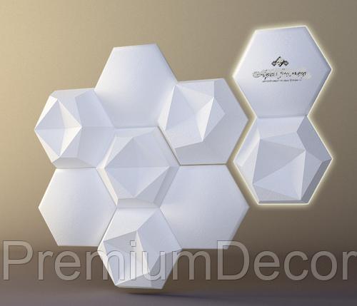 Гипсовые 3Д/3D панели ШЕСТИГРАННИК №1, фото 2
